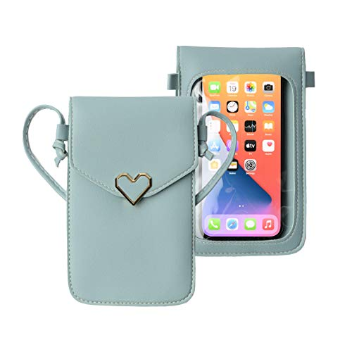 Stylish Crossbody Mobile Phone Bag with Shoulder Strap - Touch Screen Purse, Fits Most Smartphones – Keeps Cash, Credit Cards, Phone Screens Safe - Light Blue