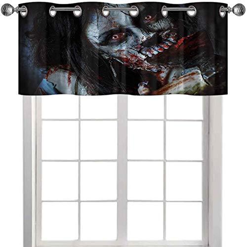 Tende da cucina mantovana spaventosa donna morta, con ascia insanguinata, fantasia gotica mistero, immagine di Halloween, 127 x 45 cm, mantovana per camera da letto, finestre multicolore