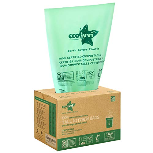 Compostable Trash Bags - ecoivvi 13 Gallon Tall Kitchen Trash bags, 49.2 L, 50 Count, Heavy Duty 1.0 Mils, Medium Wastebasket Bags for Bathroom Home Bedroom Office Garbage Can, US BPI and Europe OK Compost Home Certified