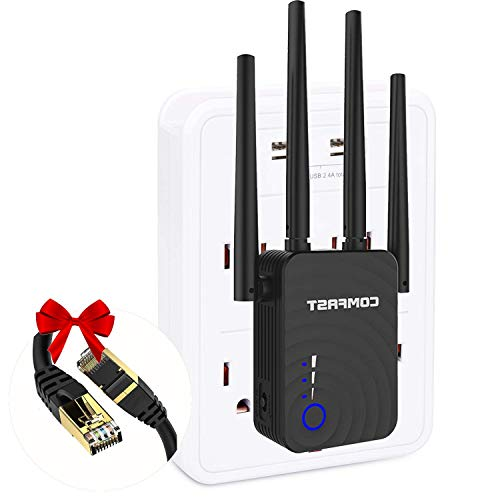 WiFi Range Extender Signal Booster for Home, 1200Mbps Repeater 2500FT 2.4 & 5GHz Dual Band WPS Booster WPS Easy Setup, Work with Any WiFi Routers Enjoy Gaming Movies (AC1200, Black)