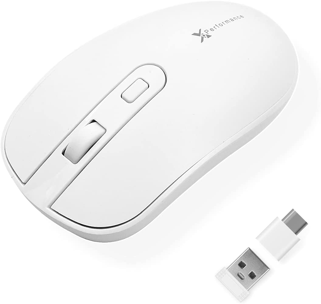 X9 Performance USB C Wireless Mouse with USB and Type C Receiver - Great for Multi-Device Use - 2.4G RF White USB Type C Cordless Mouse PC Computer, Laptop, MacBook, and All Type-C Device