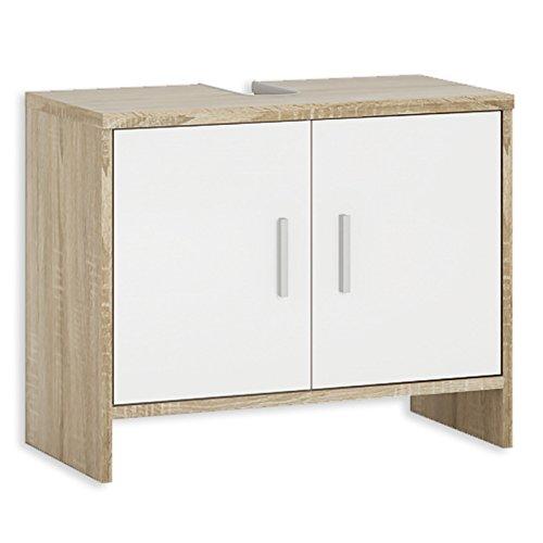 ROLLER Waschbeckenunterschrank - weiß-Sonoma Eiche - 65 cm breit