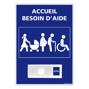 Panneau - Accueil Besoin d'Aide + Sonnette intégrée - Plastique...