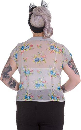 Hell Bunny ROSLYN Vintage Floral Chiffon Blüten Fifties BLUSE – Plus Size Rocka - 3