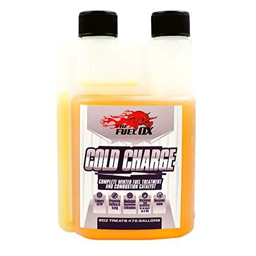 Fuel Ox Cold Charge - Complete Winter Fuel Treatment and Combustion Catalyst - Anti-Gel Fuel Additive & Diesel Engine Lubricant - Prevents Diesel Gelling and Improves Diesel Performance - 8oz Bottle