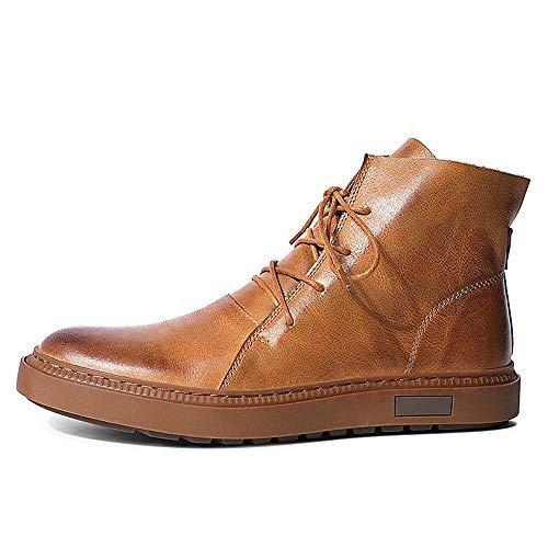 Czcrw Botas de cuero con cordones de los hombres Botas Confort Classic Vintage Ascensor cargadores populares aumento de la altura de arranque en forma de bota Botas Botines Casual estilo de los zapato