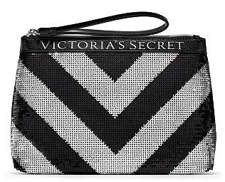 VICTORIA SECRET COSMETIC MAKEUP TRAVEL BAG TOTE BAG. - BLING SPARKLE SEQUENCED CLUTCH - BLACK AND SILVER