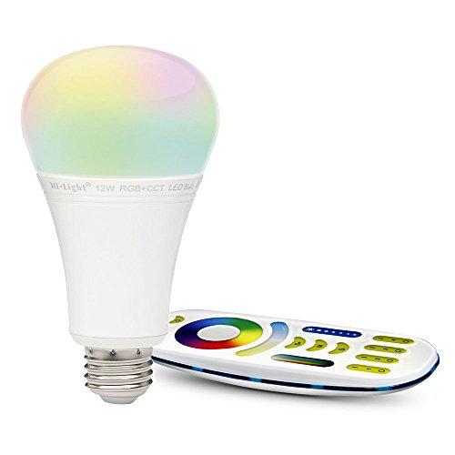 LIGHTEU®, 1x 12W E27 Neues Design Milight WiFi E27 12W 2.4G RF Fernbedienung RGBCCT LED Lampe leuchtet mit einer 4-Zonen-Fernbedienung
