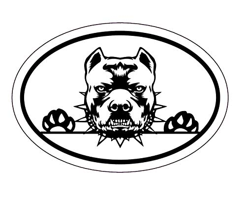 WickedGoodz Oval Attack Pit Bull Decal - Bully Dog Bumper Sticker - Pitbull Breed Owner Gift