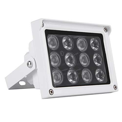 ICAMI IR LED赤外線ライト/セキュリティーライト 強力 12灯 赤外線投光器/監視カメラ補助照明/照射力重視 IRライト (ホワイト)