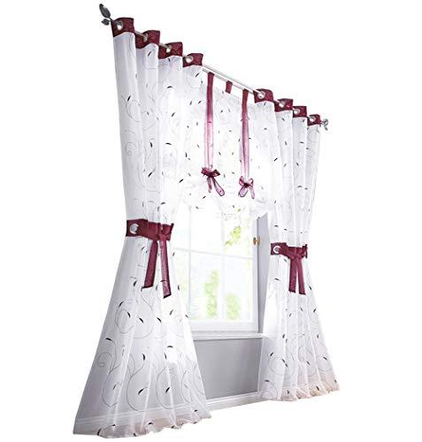 BAILEY JO 1er-Pack Vorhang Bestickt Gardinen Transparent Voile Vorhänge (BxH 140x175cm, Beere mit ösen)