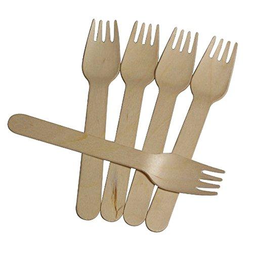 SSSC jetables en bois Couverts fourchettes & # nitrure ; 100 pièces & Carbide PCB ; écologique biodégradable Vaisselle