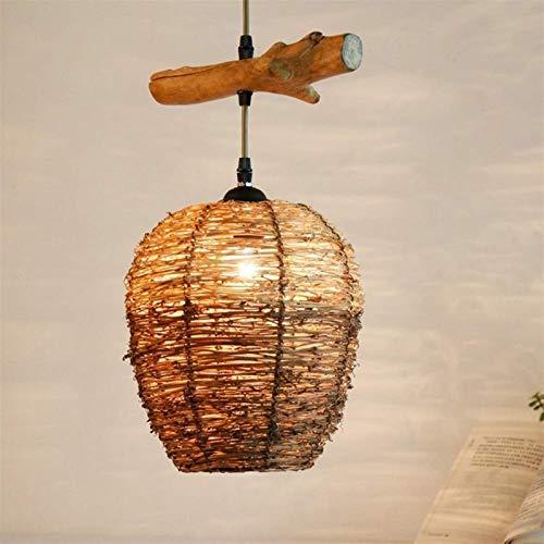 Sudeste asitico moderno ratn cesta techo colgante luz luz e27 vintage colgando luces de madera accesorio de madera lmpara tejida retro industrial iluminacin para restaurante sala de estar caf dec
