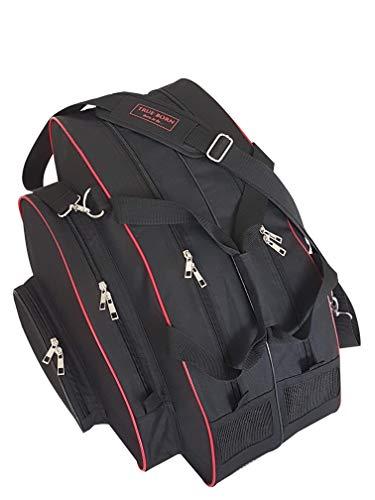 TRUE BORN Skate Bag - Ice Skating, Inline, Ski, Snowboard Boot, Sports - Adults, Men, Women, Kids - Premium Bag for Sports Equipment (Black with red Trim)