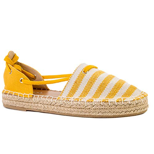 Qupid Sequoia Flats for Women - Yellow & Beige Closed Toe Strappy Sandals - 8