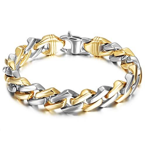 WISTIC Armband Herren Edelstahl in 18k Gold Silber Schwarz Armkette Panzerkette für Männer Jungen Kettenarmband inkl. Schmuckschachtel Tolles Geschenk (gold und silber 21cm)