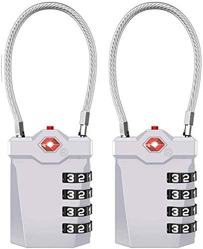ZHEGE 2個TSAロック 海外旅行用鍵 ワイヤーロック 南京錠4桁 ダイヤル式 暗証番号 白い数字 オープン警告インジケータ付き- 荷物、スーツケース、バックパック用
