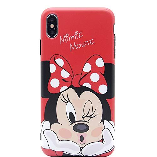 iPhone X Case, MC Fashion Cute Cartoon Matte Finish Case for Teens Girls Boys Women, Ultra Slim Soft TPU Case for Apple iPhone X (2017) and iPhone Xs (2018) (Kiss/Minnie Mouse)