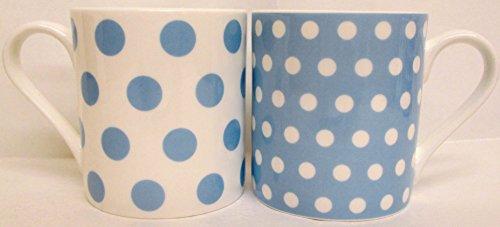 Pois Bleu Clair & pois Lot de 4 mugs Tasses en porcelaine fine Balmoral Bleu décoré à la main au Royaume-Uni Livraison gratuite au Royaume-Uni
