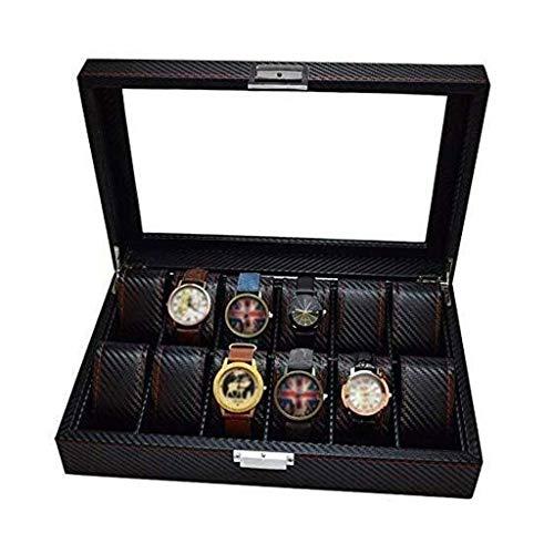 XZJJZ Caja de Reloj - 12 bits Caja de Reloj de Madera del Reloj de la Caja de almacenaje de visualización del Contador Caja de la decoración