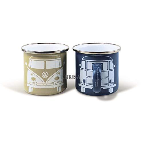 BRISA VW Collection - Volkswagen T1 Bulli Bus Emaille-Kaffee-Tee-Tasse-Becher für Küche, Werkstatt, Büro, Outdoor - Camping-Zubehör/Geschenk-Idee/Souvenir (blau/grau/2ER Set)