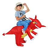 TOLOCO Inflatable Dinosaur Costume for Kids, T-REX Costume, Halloween Blow Up Costume, Dinosaur Rider Costume
