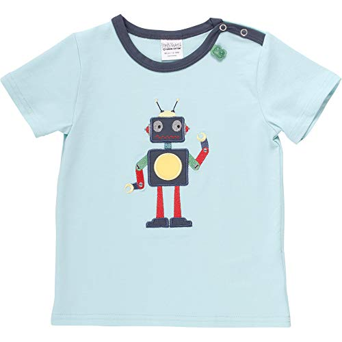 Fred's World by Green Cotton Baby-Jungen Hello Robot T-Shirt, Blau (Aqua 014481201), (Herstellergröße: 98)