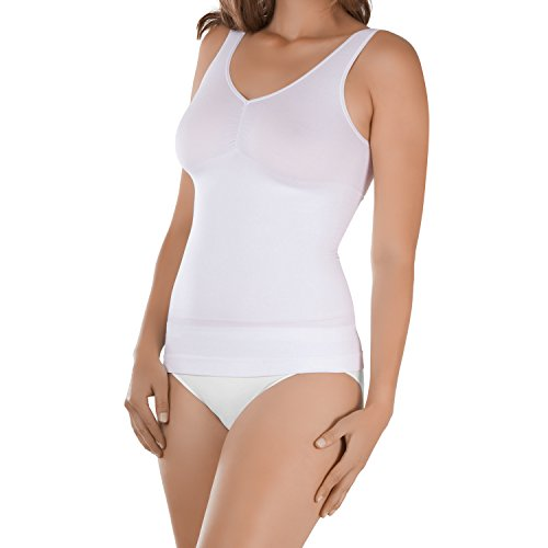 Celodoro Damen Form-Top - Seamless Unterhemd mit Shaping-Effekt - Weiss L