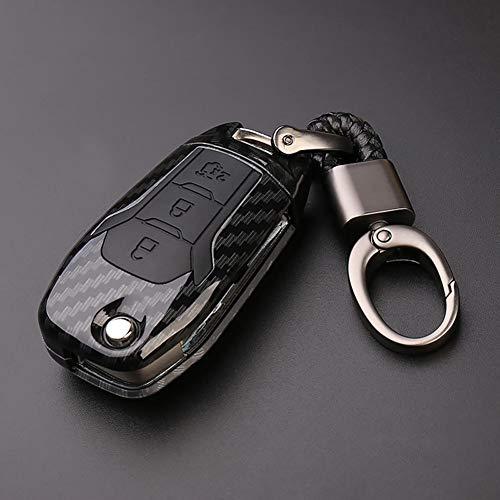 HJPOQZ Llavero de Fibra de Carbono con diseño de Coche, Llavero con Mando a Distancia, Apto para Ford Fiesta Focus 3 4 MK3 MK4 Mondeo Ecosport Kuga