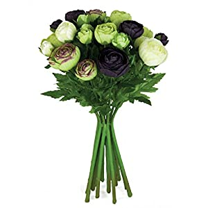 Floristrywarehouse Artificial Silk Flowers Ranunculus Arrangement Aubergine Cream Green 15 Stems 13 inches