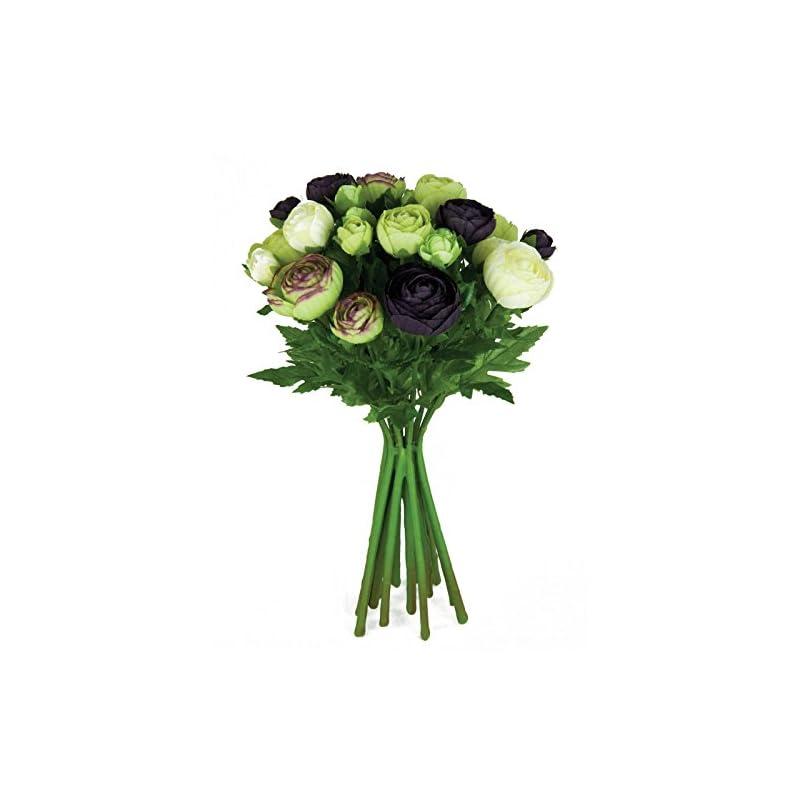 silk flower arrangements floristrywarehouse artificial silk flowers ranunculus arrangement aubergine cream green 15 stems 13 inches