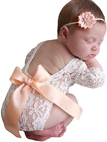 Newborn Infant Baby Photography Props Girls Lace Bow Vest Bodysuits Romper Photo Shoot Princess product image