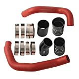 Turbo Intercooler Pipe and Boot Kit CAC Tubes Powerstroke Compatible for Ford 6.0L 2003-2007 (Red)