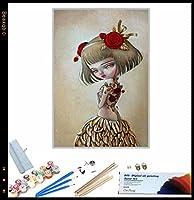 {DIYフォトフレーム} DIY油絵、 漫画のかわいい女の子 によるペイント 大人・子供・初心者用 アクリルペイント 数字による絵画 絵画 キット 大人 子供 アートクラフト 自宅 壁 装飾 40x50cm