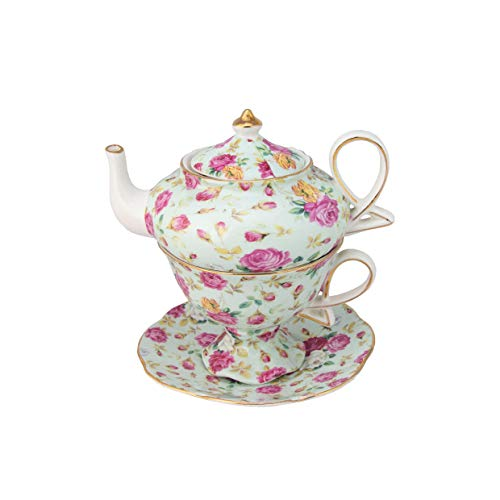Blue Cottage Rose Chintz Teapot and Cup Set for one