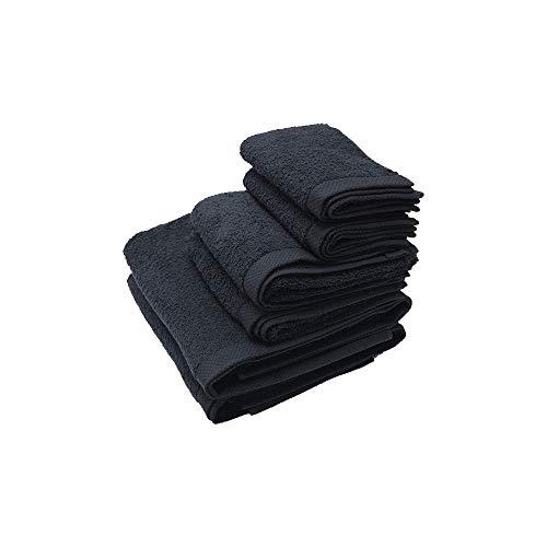 Juego de 2 Toalla de tocador 30×50 cm, 2 Toalla de Lavabo 50x100 cm, 2 Toalla de baño 100x150 cm Damasco, Color Negro, 100% algodón de 520 g/m2