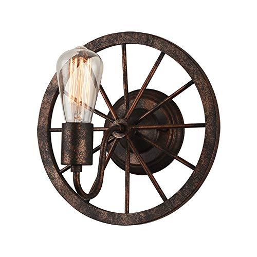 Loft coche rueda lámpara de pared Vintage dormitorio restaurante bar iluminación industrial antigüedades hierro forjado lámparas diámetro 11,81 en * alta 11,81 en
