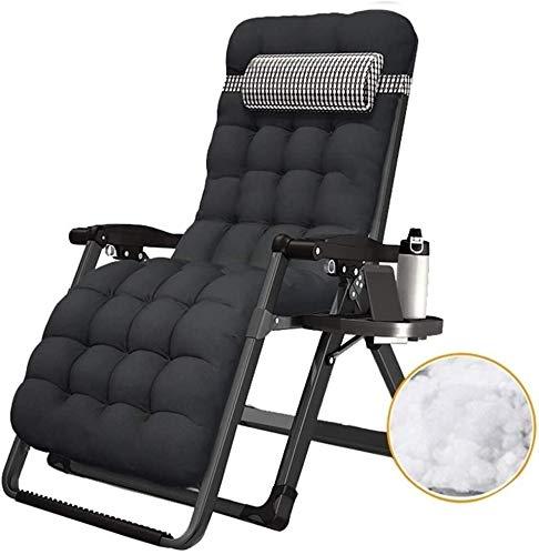 Sillón reclinable al aire libre Relajación gravedad cero Silla plegable Terraza anti-inclinación de inclinación del sillón plegable Patio con almohadilla y la taza titular ( Color : Chair+cushion B )
