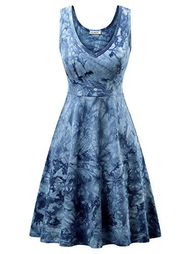 HUHOT Womens Tie Dye Dress Sleeveless Summer A Line Sun Cover up Beach Dresses 70s Blue Floral Small