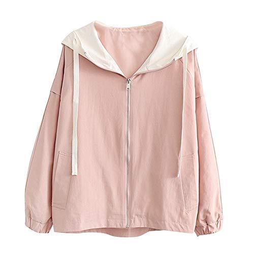 NPRADLA 2018 Herbst Winter Damen Mantel Langarm Passende Farbe Dünne Kapuze Zip Taschen Jacke Strickjacke