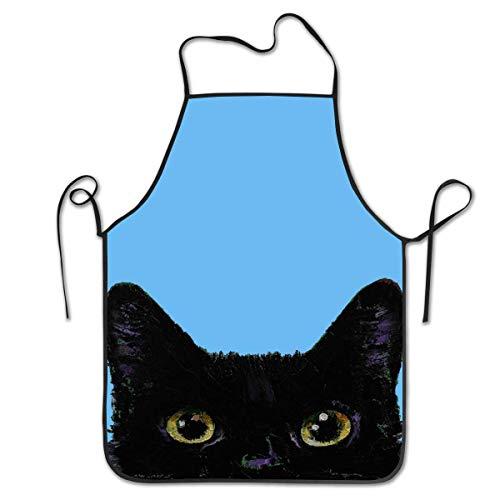 Osmykqe - Delantal de cocina, diseo de gato negro y azul