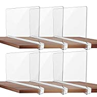 Galifode 6 Pack Acrylic Shelf Dividers, Wood Shelf Dividers, Clear Plastic Divder, Organizer with Wooden Shelves Multipurpose Organizer for Clothing,Fits 0.4-0.95in Shelves