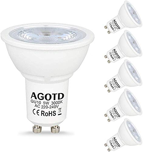 AGOTD GU10 LED Lampen 5W 230V,35W 50W Halogenlampen,400LM, LED GU 10 Strahler Warmweiß 3000k,LED Leuchtmittel gu 10,38 Grad,6er Pack [Energieklasse A+]