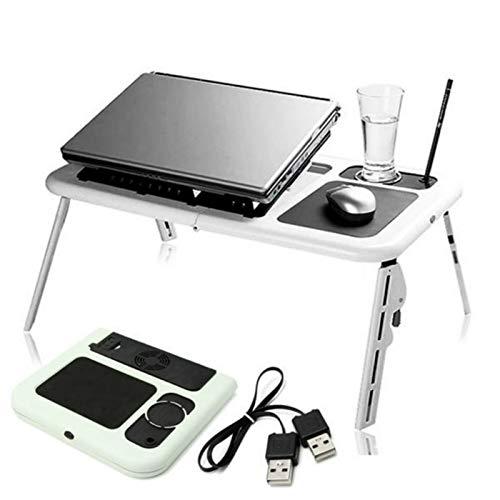 Belleashy - Mesa plegable ajustable para ordenador portátil con soporte de ventiladores de refrigeración para comer un picnic de cocina