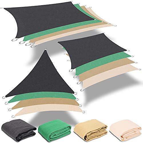 Rapid Teck Sonnensegel Rechteck Creme/Beige 3x5m Sonnenschutz Windschutz Sonnendach UV Schutz HDPE Atmungsaktiv für Garten Balkon Terrasse