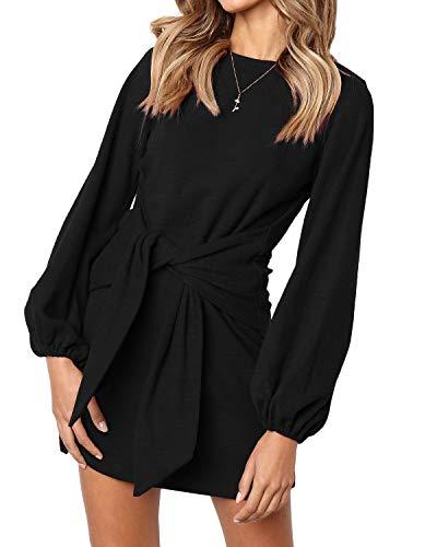 kenoce Damen Tunika Kleid Cocktailkleid Langarm Elegant Mini Kleid Mit Gürtel T-Shirt Kleid Vintage Kleid C1-Schwarz S