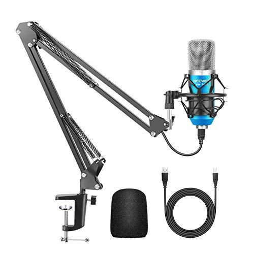 Neewer Micrófono Condensador Estudio Pro NW-7000 y Brazo Tijera de Suspensión Ajustable con Montura Contra Choque,Cable USB y Abrazadera de Montaje Mesa Kit para Sonidos(azul)