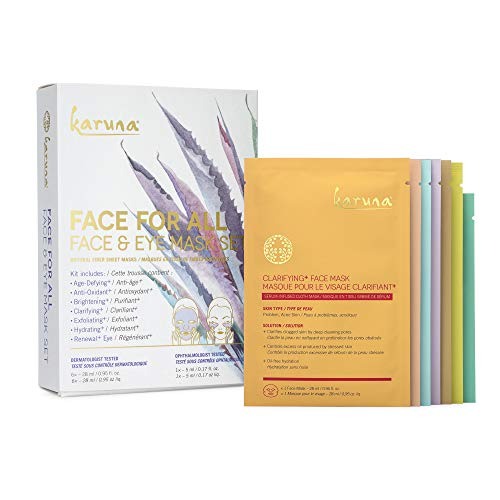 Karuna Face For All Face & Eye Mask Set: Reduce Signs of Aging, Protect, Deep Clean, Smooth, Natural Fiber Sheet Mask, 7 Pack