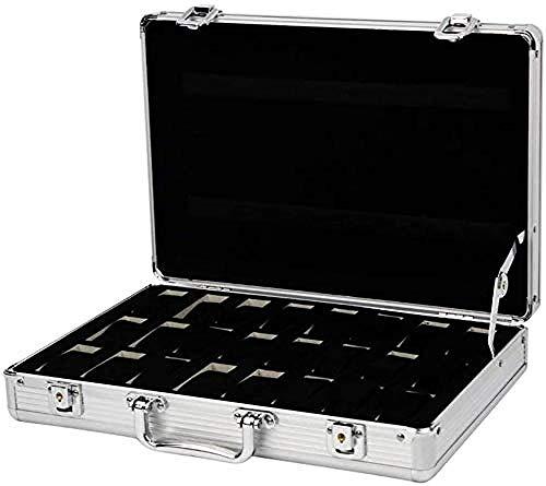 Caja de almacenamiento de reloj, caja de exhibición portátil de 24 bits, caja de aluminio de almacenamiento de reloj portátil, utilizada como regalos para la familia