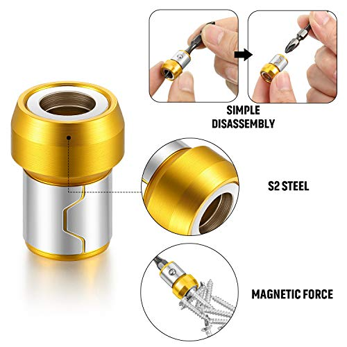 5 Pieces Magnetic Screw Ring Metal Bit Magnetizer Ring Screw Magnetic Holders Fit for 1/4 Inch/ 6.35 mm Hex Screwdriver and Power Bits(Yellow)
